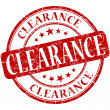 Clearance grunge red round stamp — Stock Photo