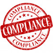 Stock Photo: Compliance grunge red round stamp
