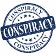 Conspiracy grunge blue round stamp — Stock Photo