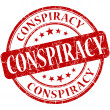 Conspiracy grunge red round stamp — Stock Photo