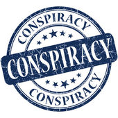 Conspiracy grunge blue round stamp — Stock Photo