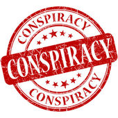Conspiracy grunge red round stamp — Stock Photo