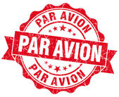 Par avion grunge round red seal — Stock Photo