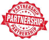 Partnership grunge round red seal — Stock Photo