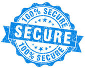 Secure grunge round blue seal — Stockfoto