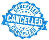 Cancelled grunge round blue seal — Foto de Stock