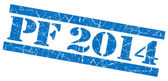 PF 2014 grunge blue stamp — Stock Photo