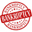 Bankruptcy grunge red round stamp — Stock Photo