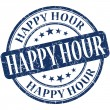 Happy hour grunge blue round stamp — Stock Photo