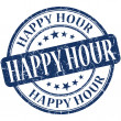 Happy hour grunge blue round stamp — Stock fotografie #34562909