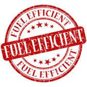 Fuel efficient grunge red round stamp — Stock Photo