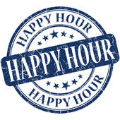 Happy hour grunge blu rotondo timbro — Foto Stock