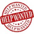 Help wanted grunge red round stamp — Stock Photo