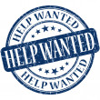 Stock Photo: Help wanted grunge blue round stamp