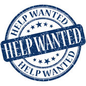 Help wanted grunge blue round stamp — Stock Photo