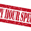 Happy hour specials grunge red stamp — Foto Stock