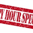 Happy hour specials grunge red stamp — Stock Photo