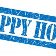 Happy hour grunge blue stamp — Stockfoto