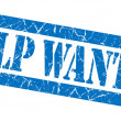 Help wanted grunge blue stamp — Stock Photo