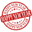 Happy new year grunge red round stamp — Stock Photo