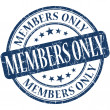 Members only grunge blue round stamp — Stock Photo