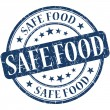 Safe food grunge blue round stamp — Stock Photo