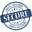 Secure grunge blue round stamp — Stock Photo
