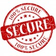 Secure grunge red round stamp — Stock Photo