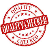 Quality checked grunge red round stamp — Stock Photo