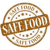 Grunge alimentos seguros marrón redondo sello — Foto de Stock