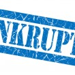Bankruptcy grunge blue stamp — Stock Photo
