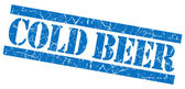 Cold beer grunge blue stamp — Stock Photo