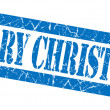 Merry christmas grunge blue stamp — Stock Photo