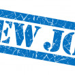 New job grunge blue stamp — Stock Photo