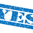 Yes blue grunge stamp — Foto Stock