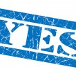 Yes blue grunge stamp — Stock Photo
