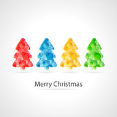 Merry christmas poster - colourful bubbles christmas tree — Stock vektor
