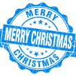 Merry christmas blue grunge stamp — Stock Photo