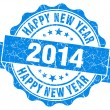 Happy new year 2014 grunge blue stamp — Foto Stock