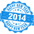 Happy new year 2014 grunge blue stamp — Stok fotoğraf