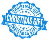 Christmas gift blue grunge stamp — Stock Photo