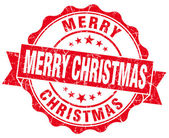 Merry christmas red grunge stamp — Foto de Stock