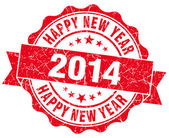 Happy new year 2014 grunge red stamp — Stok fotoğraf