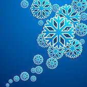 Blue snow flakes poster — Stockfoto