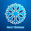 Merry christmas snowflake blue poster — Stock Vector