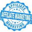 Affiliate marketing blue grunge vintage seal — Stock Photo
