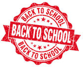 Back to school red grunge vintage seal — Stockfoto
