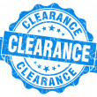 Clearance blue vintage seal isolated on white — Stock Photo