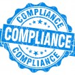 Stock Photo: Compliance blue vintage seal isolated on white