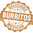 Stock Photo: Delicious burritos brown vintage seal isolated on white